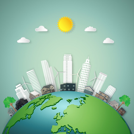 Modern buildings cityscape and houses on green world as business, nature, eco and love earth day concept. vector illustration of paper art and craft style. Çizim