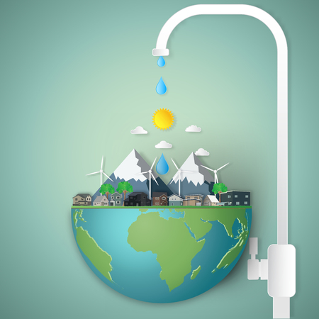 faucet water nutrient on the globe nature on hemisphere green world as business, nature, eco, life and love earth day concept. vector illustration of paper art and craft style.