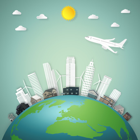 The travel by airplane over modern buildings cityscape and houses on green world in the morning as business, nature, eco and love earth day concept. vector illustration of paper art and craft style.