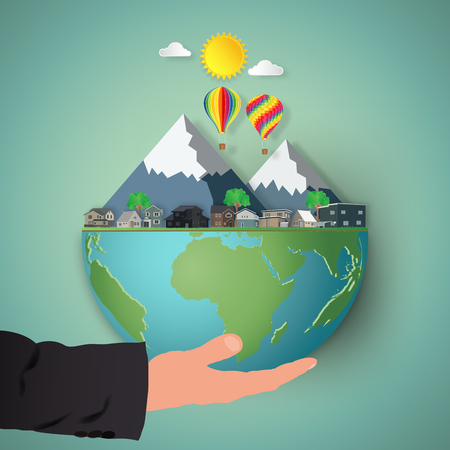Businessman's hand hold the Houses, hot air balloons and mountain on hemisphere green world as business, nature, eco and love earth day concept. vector illustration of paper art and craft style. Çizim