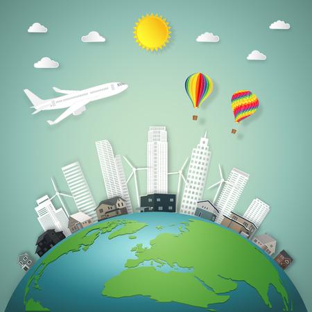 El viaje en avión y globos de aire caliente sobre el paisaje urbano de los edificios y las casas en el mundo verde por la mañana como concepto de estilo de negocio, naturaleza, eco, día de la tierra y arte de papel. ilustración vectorial Ilustración de vector