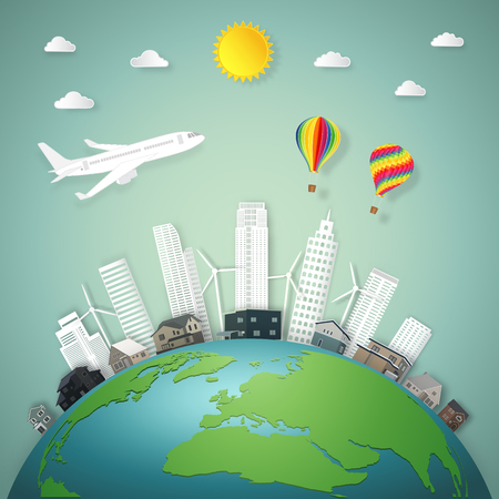 The travel by airplane and hot air ballooons over buildings cityscape and houses on green world in the morning as business, nature, eco, earth day and paper art craft style concept. vector illustrati