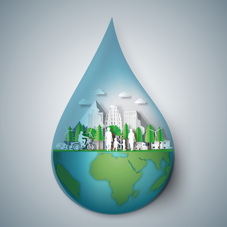 The fresh world in the water drop as life ,green earth, nature, healthy, paper art and craft style concept. vector illustration.