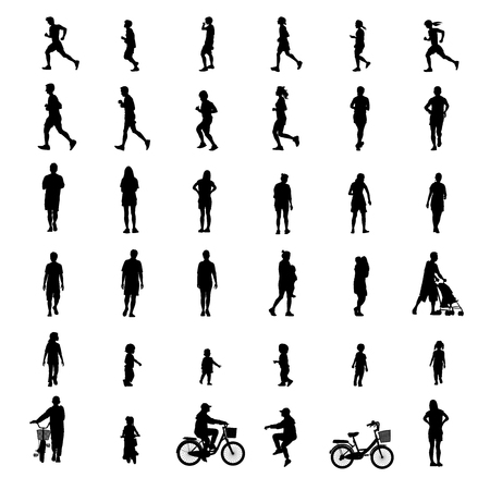 peoples exercise isolated on white background as healthy concept. vector illustration. Çizim