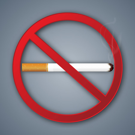No smoking sign isolated on dark gray background as healthy, Social issues and paper art concept. vector illustration. Çizim