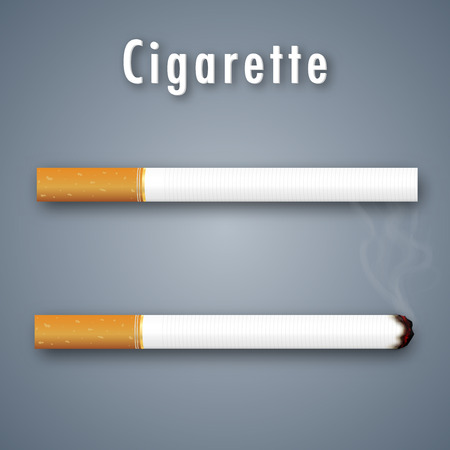 Realistic Cigarette normal and burn isolated on grey background. Vector illustration Çizim