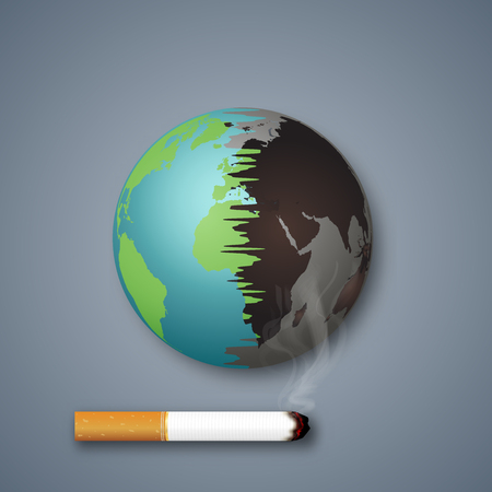 Cigarettes destroy the world or earth as craft style and paper art concept. vector illustration