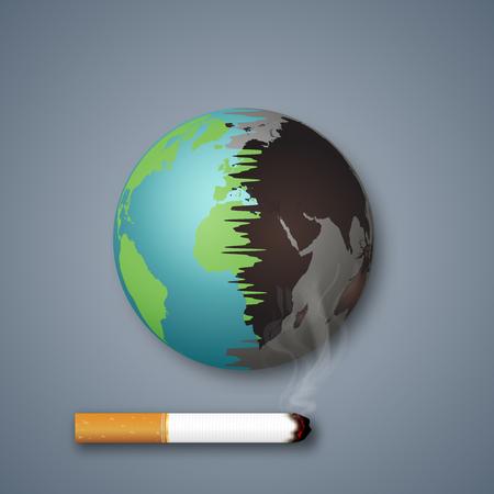 Le sigarette distruggono il mondo o la terra come stile artigianale e concetto di arte della carta. illustrazione vettoriale Vettoriali
