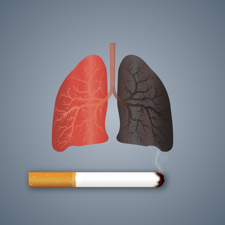 Cigarettes destroy lung health as craft style and paper art concept. vector illustration Çizim