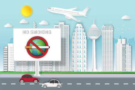 no smoking sign and earth on billboard in modern cityscape in the morning working day as healthy, business, advertising, travel popular city, paper art and craft style concept. vector illustration
