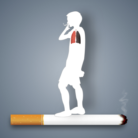 Cigarettes destroy lung health of human as craft style and paper art concept. vector illustration