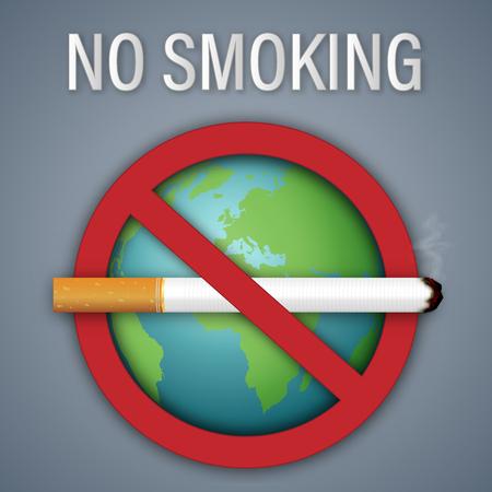 Niet roken teken werelddag op de groene aarde als concept voor gezonde, sociale kwesties en papierkunst. vector illustratie