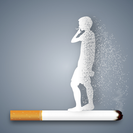 Cigarettes destroy health and life of human as craft style and paper art concept. vector illustration Çizim