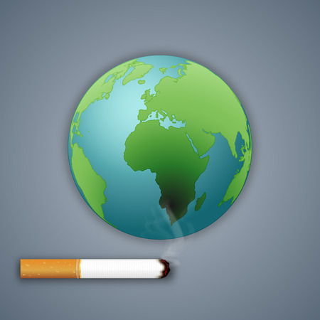 Cigarettes destroy the green world or earth as craft style and paper art concept. vector illustration