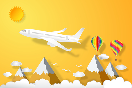 Airplane and hot air balloons flying under orange sky and sunny as paper art, craft style and business, journey and travel concept. vector illustration