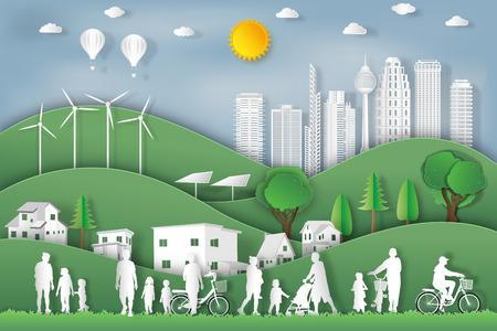 paysage des peuples font de l'exercice et se détendent dans la ville du matin en été, air frais dans le parc comme nature, santé, art du papier et concept de style artisanal. illustration vectorielle