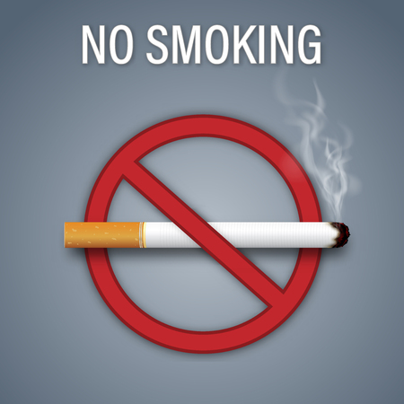 No smoking sign isolated on dark gray background as healthy, Social issues and paper art concept. vector illustration. Stock Illustratie
