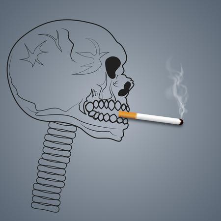 Il fumo della testa del cranio è dannoso per la salute dei polmoni in quanto pericoloso, malsano, inquinamento atmosferico, stile artigianale e concetto di arte della carta. illustrazione vettoriale Vettoriali