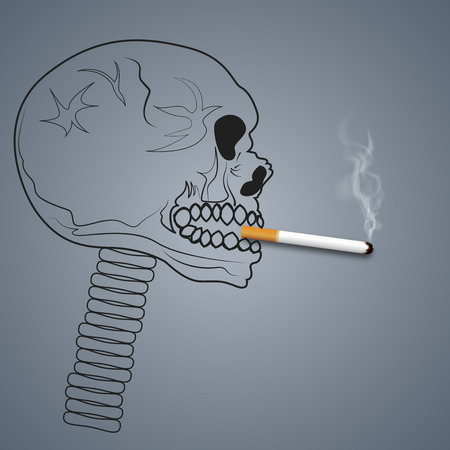 Skull head smoking are harmful to lung health as dangerous, unhealthy , air pollution, craft style and paper art concept. vector illustration
