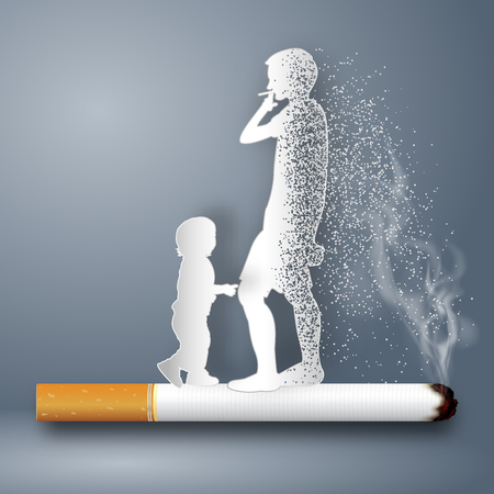 Cigarettes destroy health and life of human as craft style and paper art concept. vector illustration 일러스트