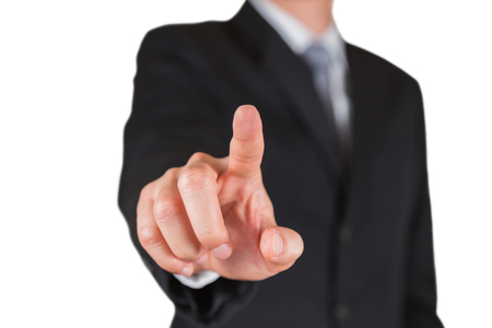 Businessman give a finger touching isolated on white background as business, praise, choose and point target concept
