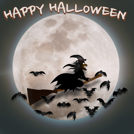 The witch fly in the dark night and full moon as happy Halloween day concept. vector illustration.