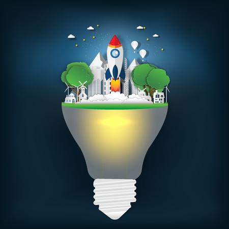 Raketenstart an der frischen Luft im Park auf der Glühbirne als Geschäftsstart, Natur, Papierkunst und Handwerksstilkonzept. Vektorillustration. Vektorgrafik