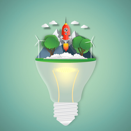 Rocket launch in fresh air in the park on the light bulb as business start, nature, paper art and craft style concept. vector illustration.