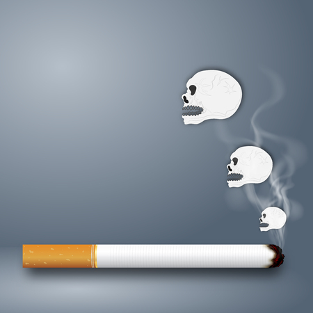 Skulls around cigarettes as destroy health and life of human , craft style and paper art concept. vector illustration