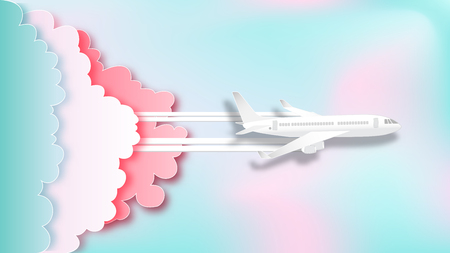 Vue aérienne de l'avion sur fond pastel magnifique comme concept de style art et artisanat en papier. illustration vectorielle