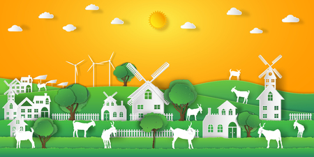 landscape of goat farm and relax in the morning city on summer, fresh air in the park as nature, living , paper art and craft style concept. vector illustration Vetores