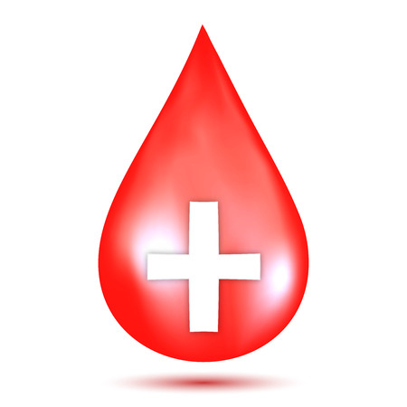 Red blood drop isolated on white background as healthcare, healthy and donation concept. vector illustration. Ilustración de vector