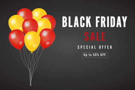 Black Friday with yellow and red Balloons on dark background as business , discount , promotion and Sale Poster concept. Vector illustration. Ilustracja