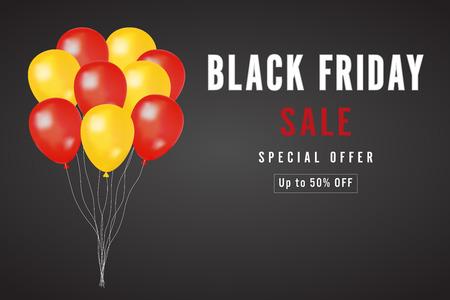 Viernes negro con globos amarillos y rojos sobre fondo oscuro como concepto de negocio, descuento, promoción y cartel de venta. Ilustración de vector. Ilustración de vector