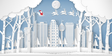 Santa Claus on the sky in the winter season with cityscape , forest and snow  as Paper art and digital craft style concept. vector illustration Stok Fotoğraf - 118399492