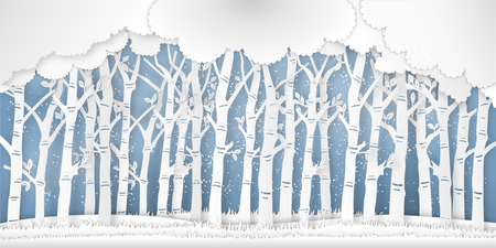 Paper art of the winter season with nature trees and snow background as digital craft style concept. vector illustration