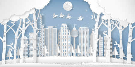 Paper art and cut of Santa Claus on the sky in the winter season with cityscape , forest and snow  as digital craft style concept. vector illustration 向量圖像