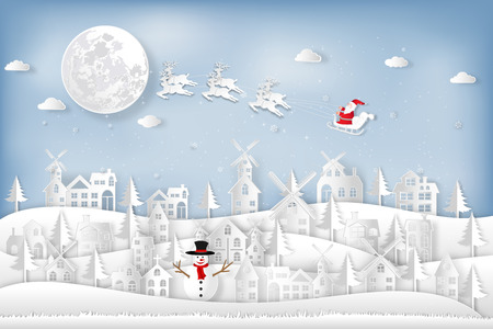 Paper art and cut  craft style design of Santa Claus on Sleigh and Reindeer in the snow village and snowman in the winter background as holiday and merry christmas or x'mas day concept. vector illustration. Stok Fotoğraf - 118399495