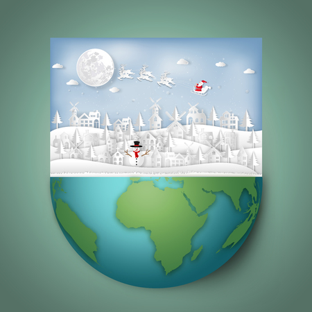 Paper art and cut  craft style design of Santa Claus on Sleigh and Reindeer in village and snowman on hemisphere green world as holiday and merry christmas or x'mas day concept. vector illustration. Stok Fotoğraf - 118399175