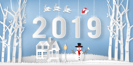 Paper art  of Santa Claus on Sleigh, Reindeer and snowman in the winter season with trees , forest and snow on the blue sky as Happy New Year 2019 and digital craft style concept. vector illustration