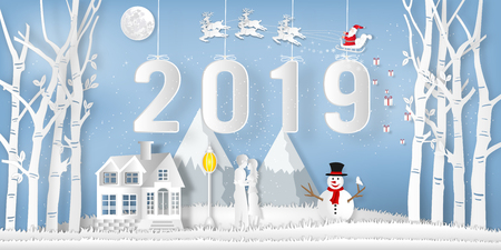 Paper art and cut of Santa Claus on Sleigh, Reindeer ,  snowman and Lover in the winter season with trees , forest and snow on the blue sky as Happy New Year 2019 and digital craft style concept. vector illustration