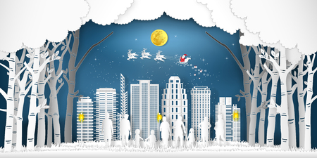 Paper art  and cut of Santa Claus on the sky with people and forest and snow cityscape in the winter season as digital craft style concept. vector illustration