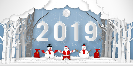Paper art, cut and digital craft style of anta Claus on Sleigh and Reindeer with 2019 label in the merry christmas night and  happy new year 2019 as holiday and xmas day concept. vector illustration.