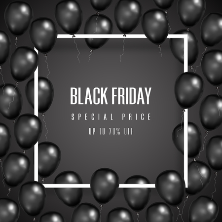 Black Friday with shiny Balloons on square frame background as business , discount , promotion and Sale Poster concept. Vector illustration.