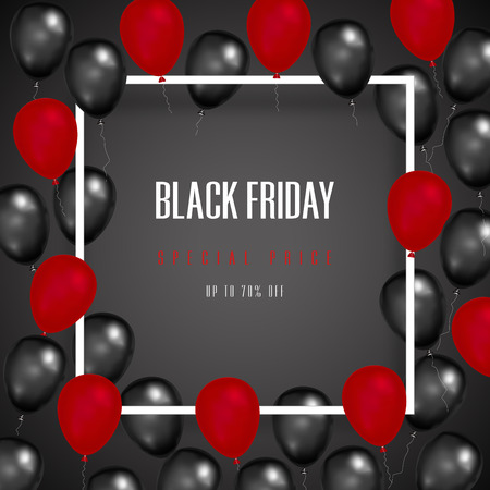 Black Friday with shiny Balloons on square frame on background as business , discount , promotion and Sale Poster concept. Vector illustration. Stok Fotoğraf - 118399187