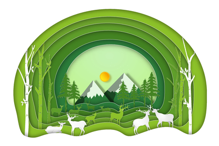 Paper art , cut and craft style of Green forest and deers wildlife with nature background layers as Saving the world with ecology and environment conservation concept. Vector illustration.