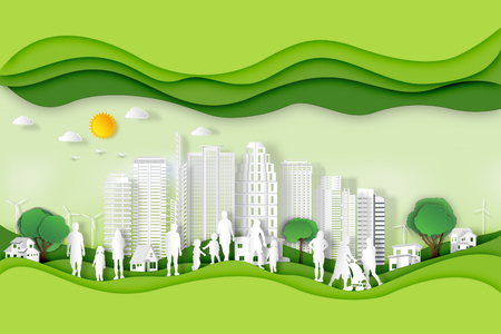 Paper art , cut and craft style of green eco urban city with people and nature cityscape background as Ecology design and environment conservation creative idea concept. Vector illustration. Stok Fotoğraf - 127272849