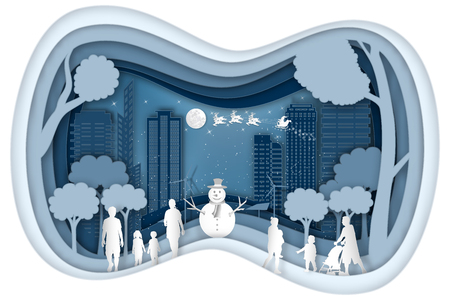 Paper art and cut digital Carving layer design of Santa Claus on Sleigh and Reindeers in the snow winter and merry christmas background as craft style and xmas day concept. vector illustration.