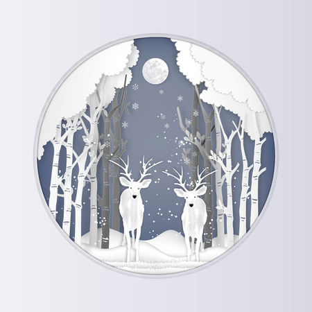 Paper art , cut and digital craft style of Deer in ther forest with snow and snowflakes as Merry Christmas day and Happy New Year concept. vector illustration