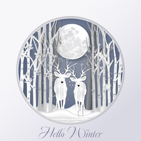 Paper art , cut and digital craft style of Deer in ther forest with snow and snowflakes as Hello Winter , Merry Christmas day and Happy New Year concept. vector illustration Banco de Imagens - 127272861